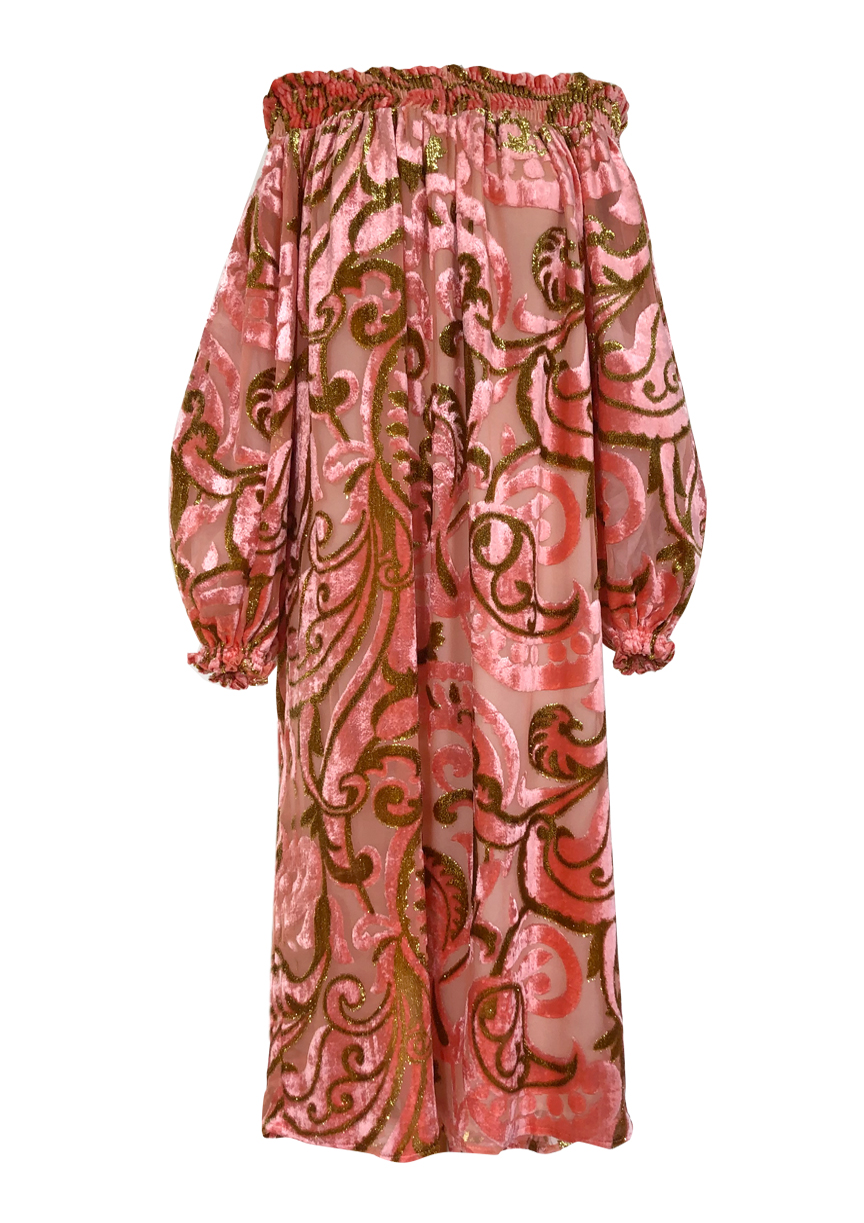 dress+pink+devore